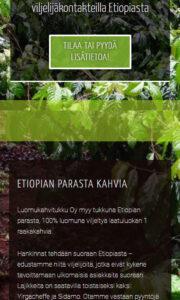 Luomu Kahvitukku Oy -sivuston mobiilinäkymää