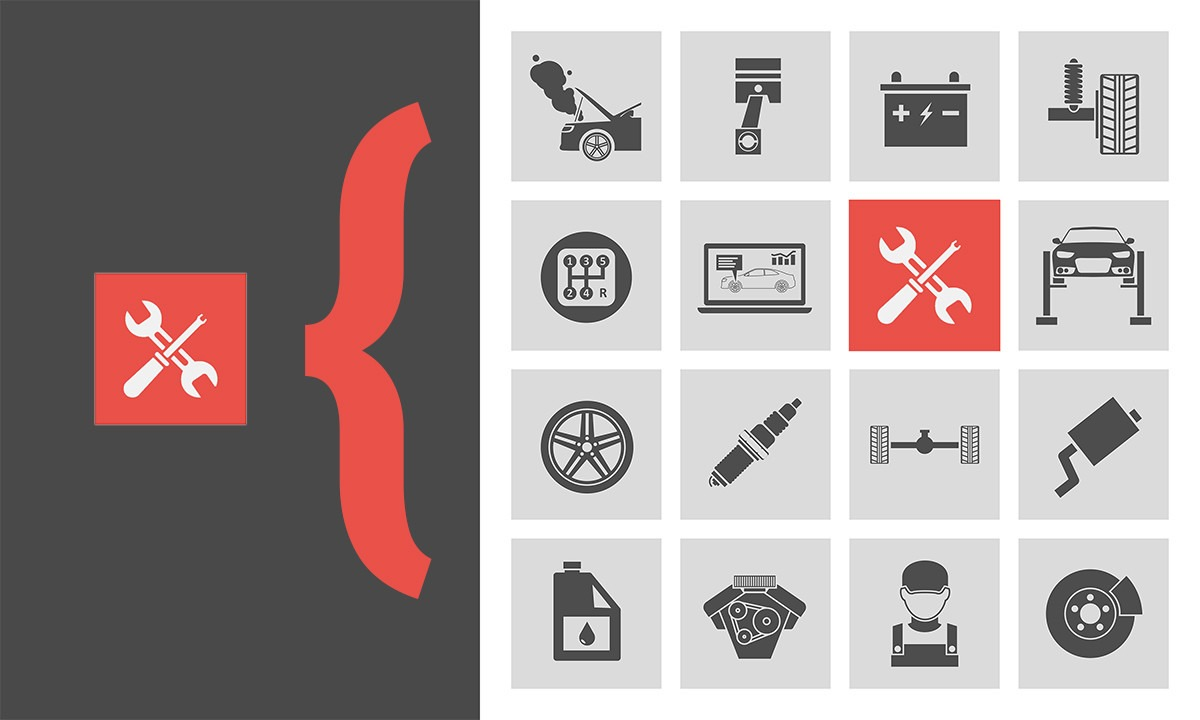 Esimerkki viitteellisyydestä, autohuoltoon kuuluu monia tekniikan osa-alueita