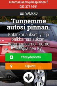 Automaalaamo Tuomo Haapiainen Ky verkkosivut mobiilissa alku
