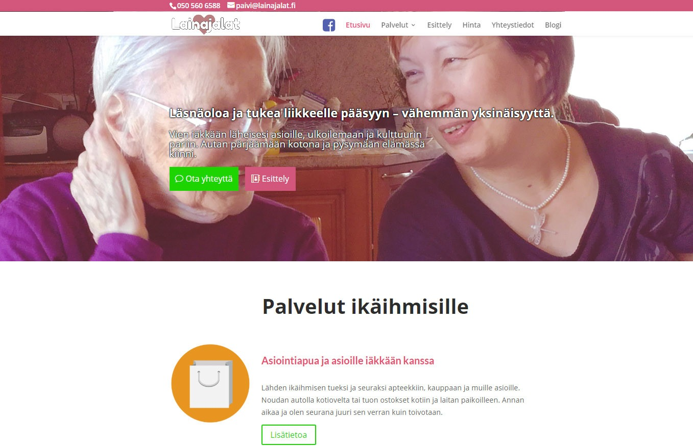 Tuki- ja asiointipalvelu Lainajalat verkkosivut