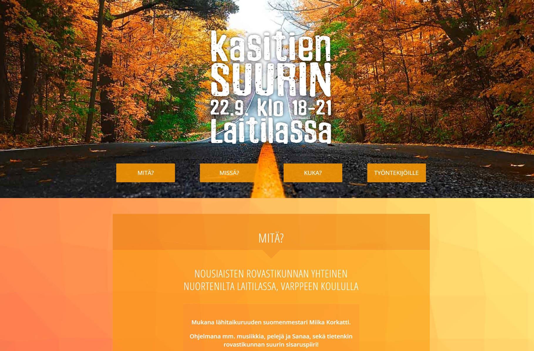 Nuorisotapahtuman verkkosivu, oranssi, syksyinen maisema headerina