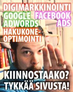 Kuvankaappaus digimarkkinointia tekevän Mainio Mooses -firman facebook-mainosvideosta