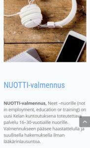 Toimintaterapeutti Katri Matomäki sivusto mobiilinäkymä, NUOTTI-valmennus