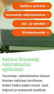 Keravan katseen verkkosivuilta palveluja mobiilinäkymässä