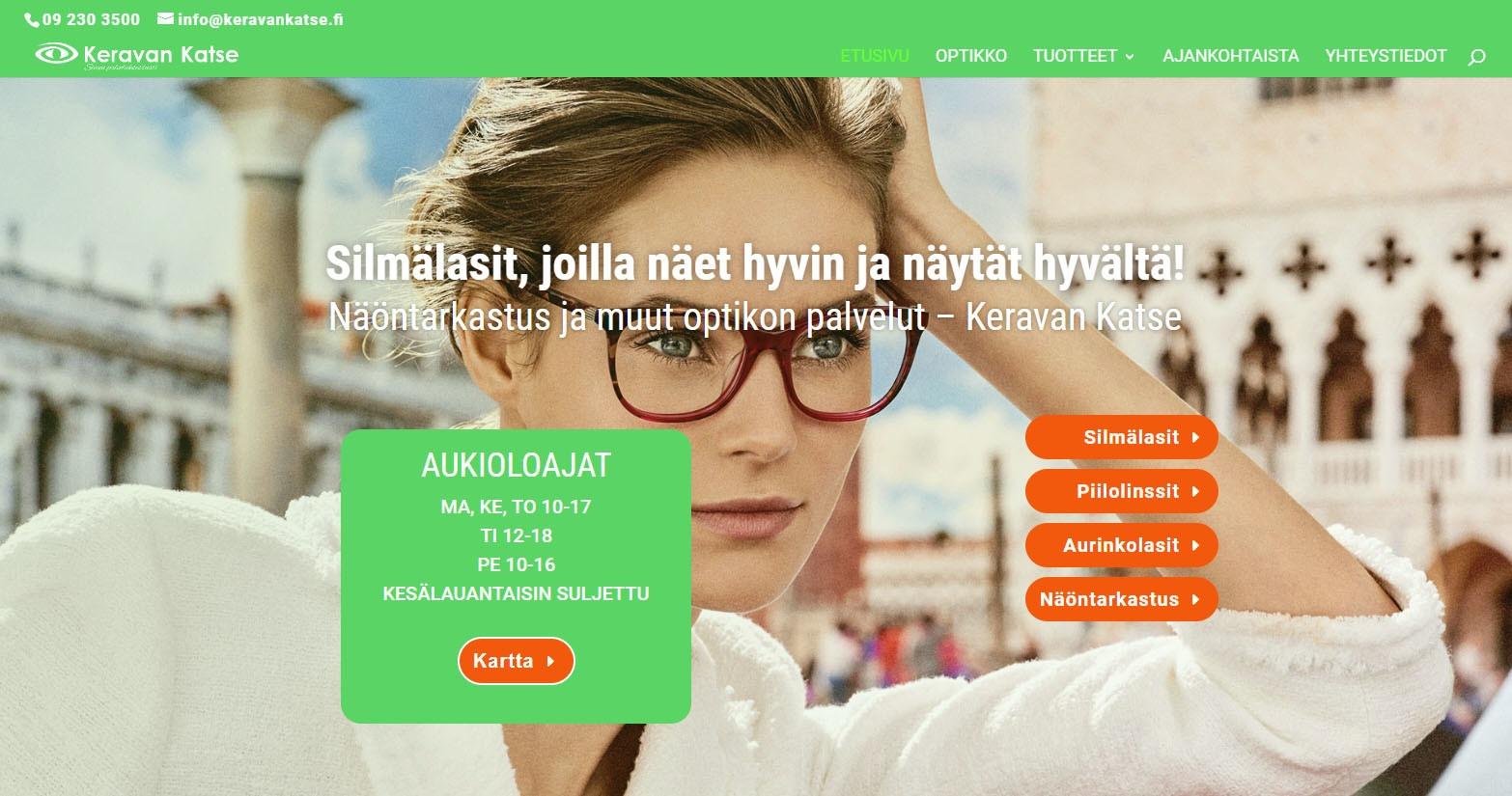 Optikkoliike Keravan Katseen verkkosivuja desktopilla